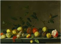 BALTHASAR VAN DER AST, A still life of fruit and shells with a rose and various insects upon a stone ledge